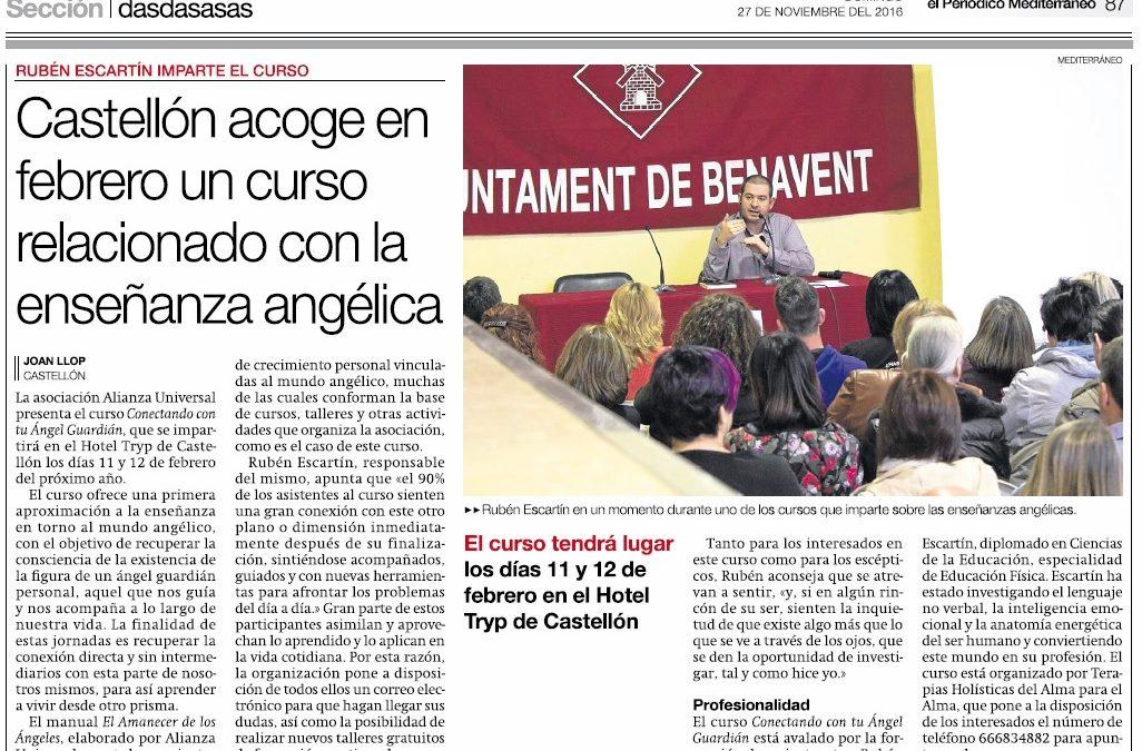 Reportaje sobre el curso «Conectando con tu Ángel Guardián» en el Periódico Mediterráneo